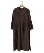 Samansa Mos2(サマンサモスモス)の古着「スタンドレース刺繍ワンピース」|ブラウン