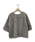 TSUHARU by samansa Mos2(ツハル バイ サマンサモスモス)の古着「リネン総刺繍前後着ブラウス」|グレー