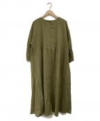 Samansa Mos2(サマンサモスモス)の古着「クルーネックピンタックワンピース」|グリーン