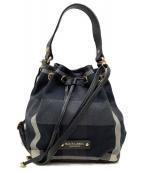 BLUE LABEL CRESTBRIDGE(ブルーレーベルクレストブリッジ)の古着「巾着ショルダーバッグ」|グレー×ブラック