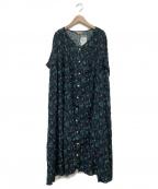 Samansa Mos2(サマンサモスモス)の古着「花柄ギャザーワンピース」|ブルー