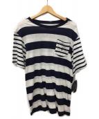 Polo Ralph Lauren Childrenswear(ポロラルフローレン)の古着「ストライプドコットンジャージTシャツ」|ホワイト×ネイビー