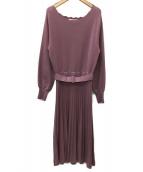 Couture brooch(クチュールブローチ)の古着「プリーツニットワンピース」|ライトピンク