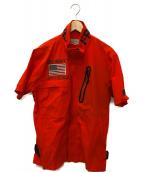 AVIREX(アビレックス)の古着「フロックマンジップシャツ」|オレンジ
