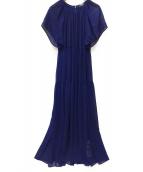 Spick and Span(スピックアンドスパン)の古着「クリンクルシフォンティアギャザードレス」|ブルー