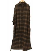 BLUEBIRD BOULEVARD(ブルーバードブルバード)の古着「CHECKNEL SHIRT DRESS-CHECK-3」|ブラウン