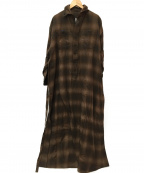 BLUEBIRD BOULEVARD(ブルーバードブルバード)の古着「CHECKNEL SHIRT DRESS-CHECK-3」 ブラウン
