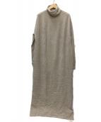 VERMEIL par iena(ヴェルメイユ パーイエナ)の古着「ハイネックロングワンピース」|ベージュ