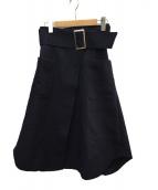 Snidel(スナイデル)の古着「ワイドベルトスカート」 ネイビー