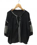 RAY BEAMS(レイ ビームス)の古着「サテン刺繍ブラウス」|ブラック