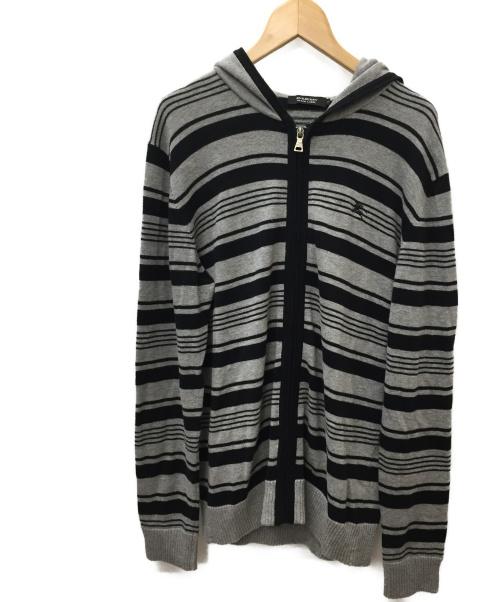 BURBERRY BLACK LABEL(バーバリーブラックレーベル)BURBERRY BLACK LABEL (バーバリーブラックレーベル) ジップパーカー ブラック×グレー サイズ:SIZE 2の古着・服飾アイテム