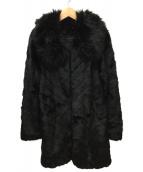 rienda(リエンダ)の古着「カッティングエコファーコート」|ブラック