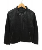 safari homme(サファリオム)の古着「シングルライダースジャケット」|ブラック