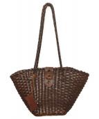 ()の古着「レザー編み込みバッグ」 ブラウン