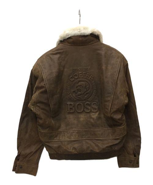 SUNTORY BOSS(サントリーボス)SUNTORY BOSS (サントリーボス) レザージャケット ブラウン サイズ:SIZE Mの古着・服飾アイテム