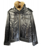 Haruf(ハルフ)の古着「ラムレザーダウンジャケット」|ブラック