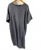 fog linen work(フォグリネンワーク)の古着「ネックリボンリネンプルオーバーワンピース」 ブルー×ホワイト