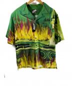 LEFLAH(レフラー)の古着「オープンカラー半袖シャツ」|グリーン×イエロー