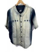 ()の古着「ノーカラー半袖デニムシャツ」 ブルー