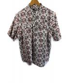()の古着「バンドカラー半袖シャツ」|ホワイト×ブラック