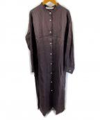 FRAMeWORK()の古着「21ssFRENCH LINENシャツワンピース」|ブラウン