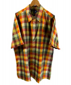 ()の古着「チェックシャツ」 イエロー×グレー