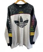 adidas(アディダス)の古着「90'Sロゴプリントスウェゥト」|ブラック×グレー