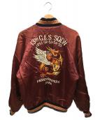 PINK DRAGON(ピンクドラゴン)の古着「リバーシブルサテンスカジャン」|レッド×オレンジ