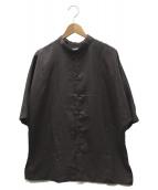 Luis(ルイス)の古着「5分袖マオカラーシャツ」|パープル