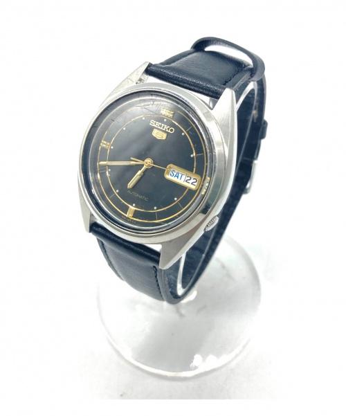 SEIKO(セイコー)SEIKO (セイコー) 腕時計 ブラック セイコーファイブ 7S26-3180 オートマチック レザーの古着・服飾アイテム