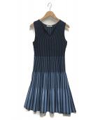 ANAYI(アナイ)の古着「綿ポリエステルタックストライプワンピース」|ブルー