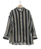 SHAREEF(シャリーフ)の古着「ビッグシルエットストライプシャツ」 ブラック