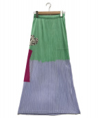 PLEATS PLEASE ISSEY MIYAKE(プリーツ プリーズ イッセイ ミヤケ)の古着「プリーツスカート」|グリーン