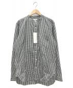 MANUAL ALPHABET(マニュアルアルファベット)の古着「ノーカラーチェックシャツ」|グレー
