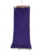 AULA(アウラ)の古着「ケーブルニットスカート」|パープル
