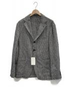 TOMORROW LAND(トゥモローランド)の古着「リングツイード 段返り3Bテーラードジャケット」|ブラック×ホワイト