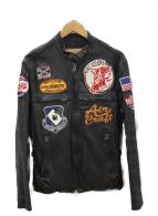 AVIREX(アビレックス)の古着「ゴードオンスキンシングルライダースジャケット」|ブラック