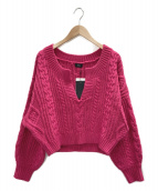NINE(ナイン)の古着「キーネックアラン編みプルオーバー」 ショッキングピンク