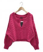 NINE(ナイン)の古着「キーネックアラン編みプルオーバー」|ショッキングピンク