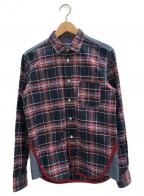 JUNYA WATANABE COMME des GARCONS MAN PINK(ジュンヤワタナベマンピンク)の古着「シャツ」|レッド×ネイビー