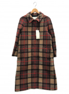 Rouge vif(ルージュヴィフ)の古着「ウールチェックステンカラーコート」|ブラウン×ベージュ