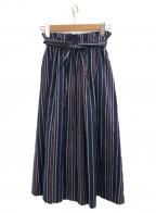 THE IRON(アイロン)の古着「マルチストライプミディスカート」 ネイビー