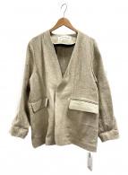 THE SHINZONE(ザ シンゾーン)の古着「リネンノーカラージャケット」|ベージュ