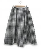 IENA()の古着「Pe/Coギンガムスカート」 ホワイト×ブラック