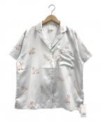 gelato pique(ジェラート・ピケ)の古着「セルカークレックスモチーフサテンシャツ」|ミント