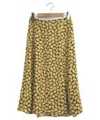 Kate Spade(ケイトスペード)の古着「サニーブルームミディスカート」 イエロー×パープル