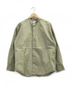eN ROUTE(アンルート)の古着「ノーカラーシャツ」|グリーン