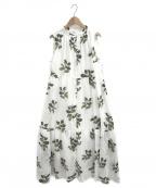 gelato pique(ジェラート・ピケ)の古着「ジャスミンモチーフノースリーブドレス」|ホワイト×グリーン