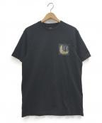 ARMANI EXCHANGE(アルマーニエクスチェンジ)の古着「バックゴールドロゴTシャツ」 ブラック