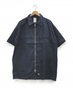 Mr.Gentleman(ミスタージェントルマン)の古着「S/Sジップシャツ」|ネイビー